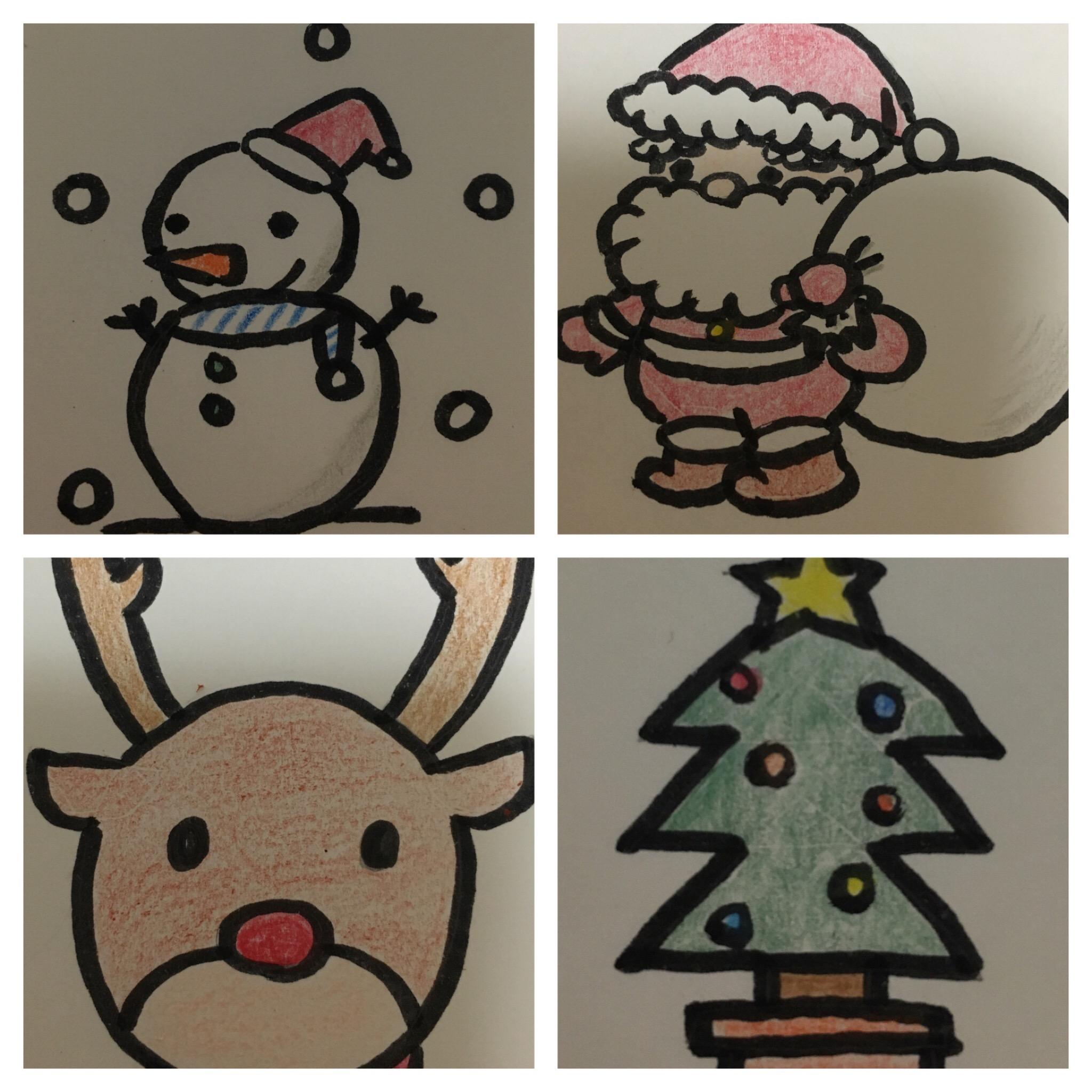 簡単可愛いクリスマスイラストの書き方ツリーサンタトナカイ